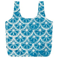 Lime Blue Star Circle Full Print Recycle Bags (l)