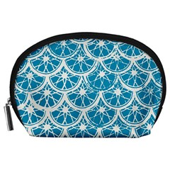 Lime Blue Star Circle Accessory Pouches (large)