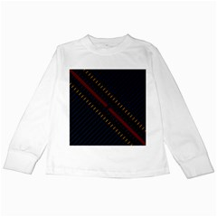 Material Design Stripes Line Red Blue Yellow Black Kids Long Sleeve T Shirts by Alisyart