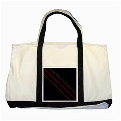 Material Design Stripes Line Red Blue Yellow Black Two Tone Tote Bag
