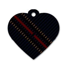Material Design Stripes Line Red Blue Yellow Black Dog Tag Heart (one Side)