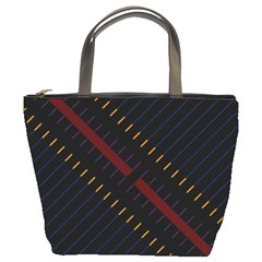 Material Design Stripes Line Red Blue Yellow Black Bucket Bags by Alisyart