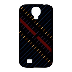Material Design Stripes Line Red Blue Yellow Black Samsung Galaxy S4 Classic Hardshell Case (pc+silicone) by Alisyart