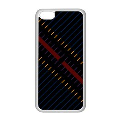 Material Design Stripes Line Red Blue Yellow Black Apple Iphone 5c Seamless Case (white)