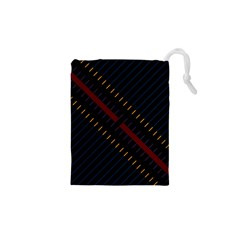 Material Design Stripes Line Red Blue Yellow Black Drawstring Pouches (xs)