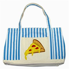 Pasta Salad Pizza Cheese Striped Blue Tote Bag by Alisyart