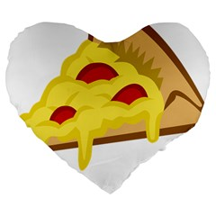 Pasta Salad Pizza Cheese Large 19  Premium Flano Heart Shape Cushions by Alisyart