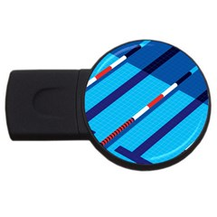 Minimal Swim Blue Illustration Pool Usb Flash Drive Round (2 Gb)
