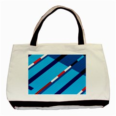 Minimal Swim Blue Illustration Pool Basic Tote Bag (two Sides)
