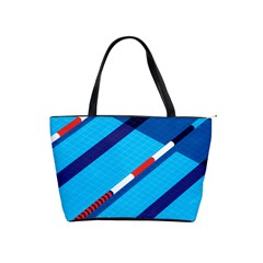 Minimal Swim Blue Illustration Pool Shoulder Handbags by Alisyart