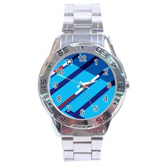 Minimal Swim Blue Illustration Pool Stainless Steel Analogue Watch