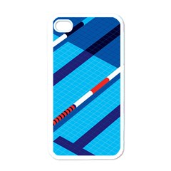 Minimal Swim Blue Illustration Pool Apple Iphone 4 Case (white)