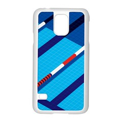 Minimal Swim Blue Illustration Pool Samsung Galaxy S5 Case (white)