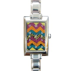 Painted Chevron Pattern Wave Rainbow Color Rectangle Italian Charm Watch by Alisyart