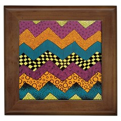 Painted Chevron Pattern Wave Rainbow Color Framed Tiles by Alisyart