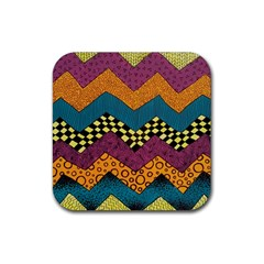 Painted Chevron Pattern Wave Rainbow Color Rubber Coaster (square)