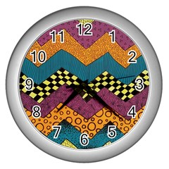 Painted Chevron Pattern Wave Rainbow Color Wall Clocks (silver)  by Alisyart