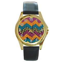 Painted Chevron Pattern Wave Rainbow Color Round Gold Metal Watch