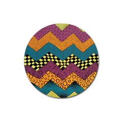 Painted Chevron Pattern Wave Rainbow Color Magnet 3  (round) by Alisyart