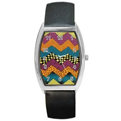 Painted Chevron Pattern Wave Rainbow Color Barrel Style Metal Watch by Alisyart
