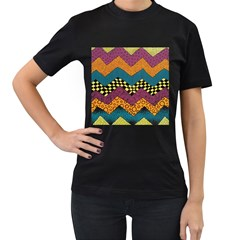 Painted Chevron Pattern Wave Rainbow Color Women s T Shirt (black) (two Sided)