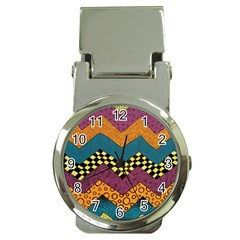 Painted Chevron Pattern Wave Rainbow Color Money Clip Watches