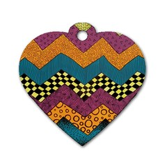 Painted Chevron Pattern Wave Rainbow Color Dog Tag Heart (two Sides)