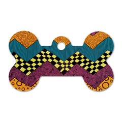 Painted Chevron Pattern Wave Rainbow Color Dog Tag Bone (two Sides)