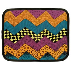 Painted Chevron Pattern Wave Rainbow Color Netbook Case (xl)  by Alisyart