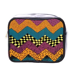 Painted Chevron Pattern Wave Rainbow Color Mini Toiletries Bags