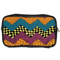 Painted Chevron Pattern Wave Rainbow Color Toiletries Bags by Alisyart