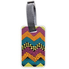 Painted Chevron Pattern Wave Rainbow Color Luggage Tags (two Sides) by Alisyart