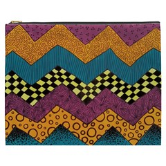Painted Chevron Pattern Wave Rainbow Color Cosmetic Bag (xxxl)