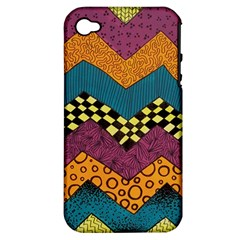 Painted Chevron Pattern Wave Rainbow Color Apple Iphone 4/4s Hardshell Case (pc+silicone)