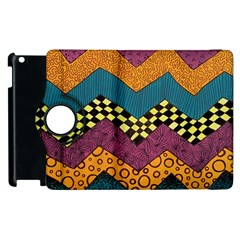 Painted Chevron Pattern Wave Rainbow Color Apple Ipad 2 Flip 360 Case by Alisyart
