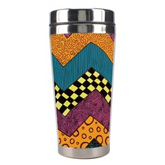 Painted Chevron Pattern Wave Rainbow Color Stainless Steel Travel Tumblers
