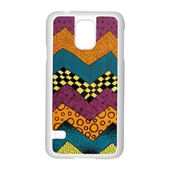 Painted Chevron Pattern Wave Rainbow Color Samsung Galaxy S5 Case (white)