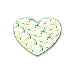 Patterns Boomerang Line Chevron Green Orange Yellow Heart Coaster (4 Pack)