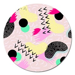 Pink Circle Red Pattern,sexy Magnet 5  (round)