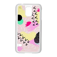 Pink Circle Red Pattern,sexy Samsung Galaxy S5 Case (white)