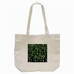 Question Mark White Green Think Tote Bag (cream) by Alisyart