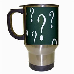 Question Mark White Green Think Travel Mugs (white) by Alisyart