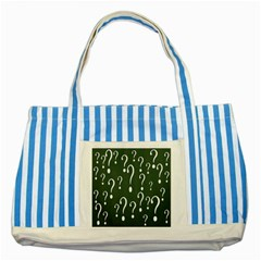 Question Mark White Green Think Striped Blue Tote Bag by Alisyart