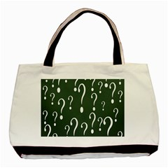 Question Mark White Green Think Basic Tote Bag (two Sides) by Alisyart