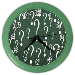 Question Mark White Green Think Color Wall Clocks by Alisyart