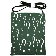 Question Mark White Green Think Shoulder Sling Bags by Alisyart