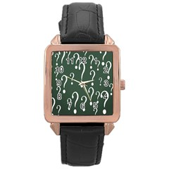 Question Mark White Green Think Rose Gold Leather Watch  by Alisyart