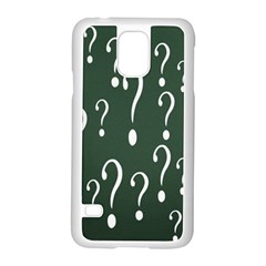 Question Mark White Green Think Samsung Galaxy S5 Case (white)