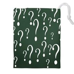 Question Mark White Green Think Drawstring Pouches (xxl)