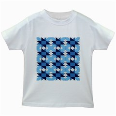 Radiating Star Repeat Blue Kids White T Shirts by Alisyart